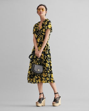 Floral Wrap Dress, Jolene Saddle Bag, Felicity Wedge, Kendall Sunglasses